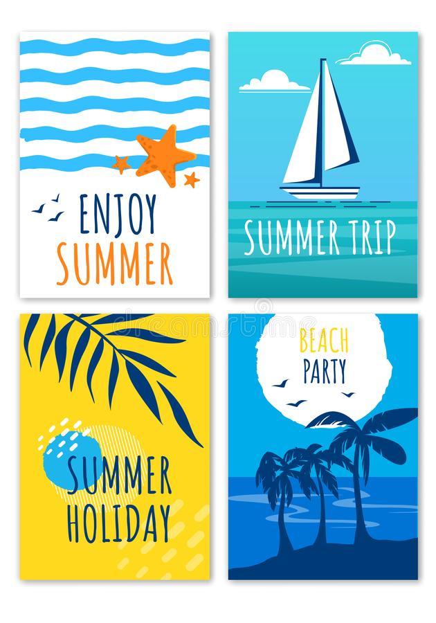 Насладитесь отключением летнего отпуска, набором знамен партии пляжа бесплатная иллюстрация