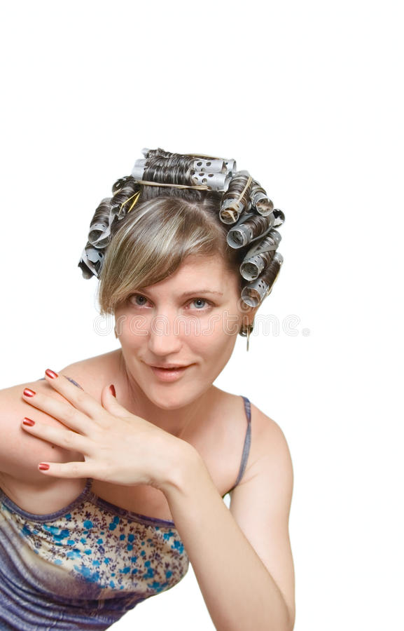 наследник haircurlers ее детеныши женщины стоковое фото