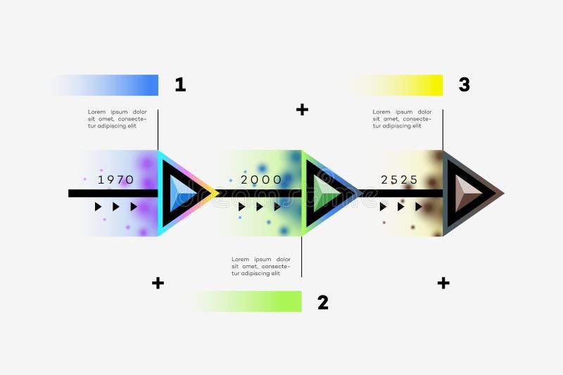 Наслоенная горизонтальная временная последовательность по Infographic иллюстрация штока