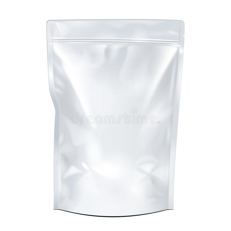 Насмешка белизны вверх по пустой упаковке сумки Doypack еды или питья фольги иллюстрация штока