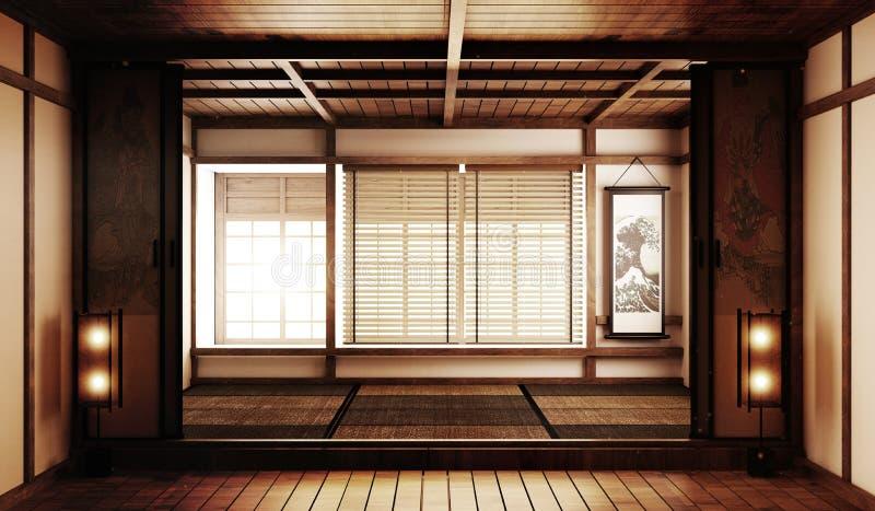 Насмешка вверх по большому стилю дзэна комнаты очень роскошному, конструированному специфически в японском стиле, пустая комната  иллюстрация вектора