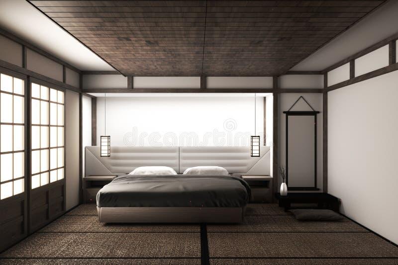 Насмешка вверх по внутренней роскошной современной насмешке спальни японского стиля вверх, конструирующ самое красивое renderin 3 иллюстрация вектора