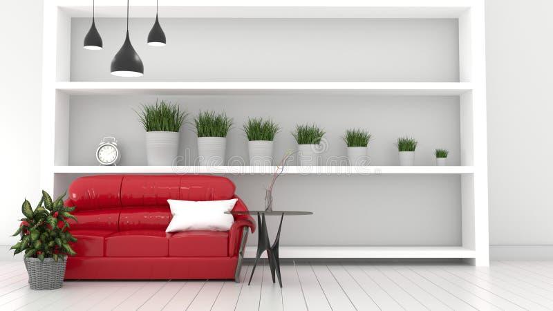 Насмешка вверх по красной софе живя внутренняя современная комната, заводы и красная софа r иллюстрация штока