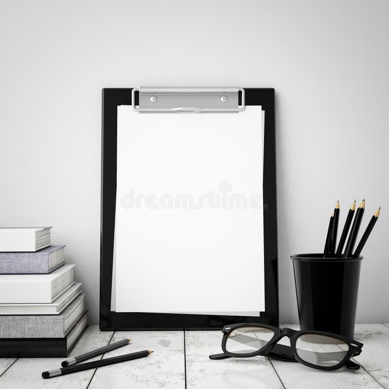 Насмешка вверх по доске сзажимом для бумаги с внутренней предпосылкой, стоковое изображение