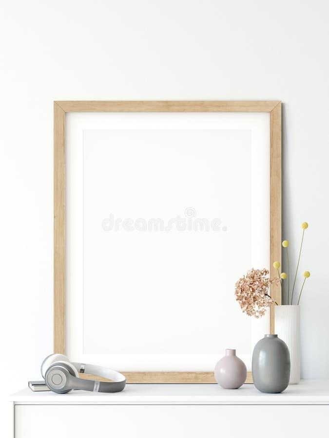 Насмешка вверх по плакатам в интерьере живущей комнаты Внутренний скандинавский стиль 3D перевод, иллюстрация 3D бесплатная иллюстрация