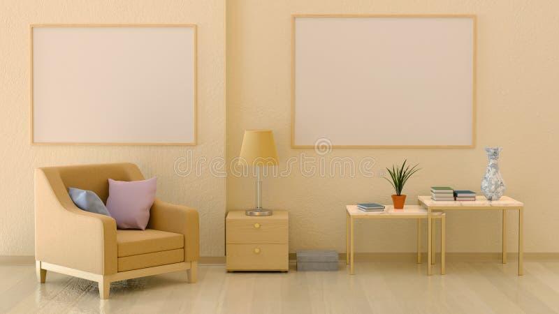 Насмешка вверх по плакатам в интерьере в теплых цветах бесплатная иллюстрация