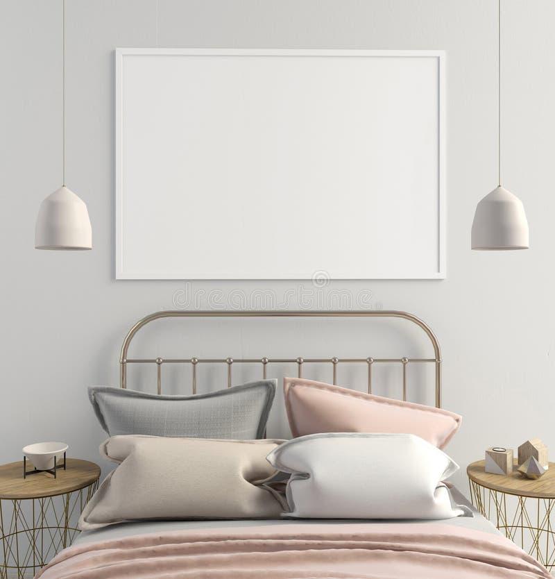 Насмешка вверх по плакату в интерьере спальни Стиль спальни скандинавский бесплатная иллюстрация