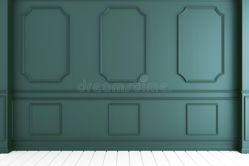 Насмешка вверх по пустому роскошному интерьеру комнаты с темной ой-зелен стеной на белом деревянном поле r бесплатная иллюстрация