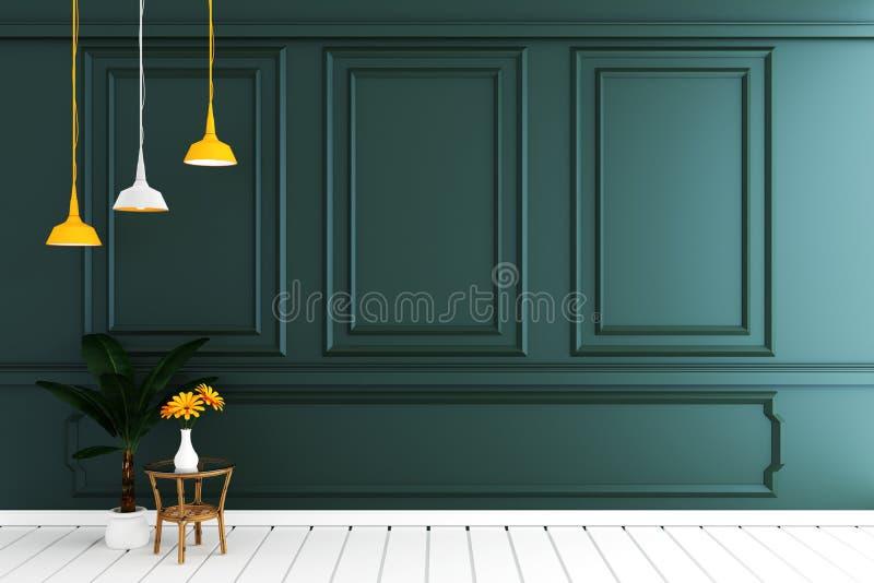Насмешка вверх по пустому роскошному интерьеру комнаты с темной ой-зелен стеной на белом деревянном поле r иллюстрация вектора