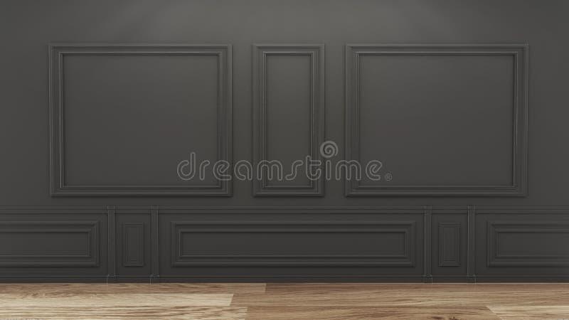 Насмешка вверх по пустому роскошному интерьеру комнаты с черной стеной на деревянном поле r иллюстрация штока