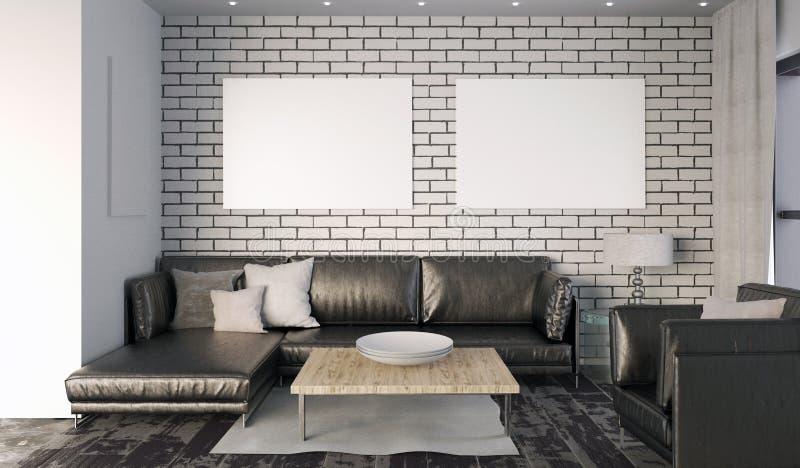Насмешка вверх по плакату в интерьере с софой Стиль живущей комнаты современный иллюстрация штока