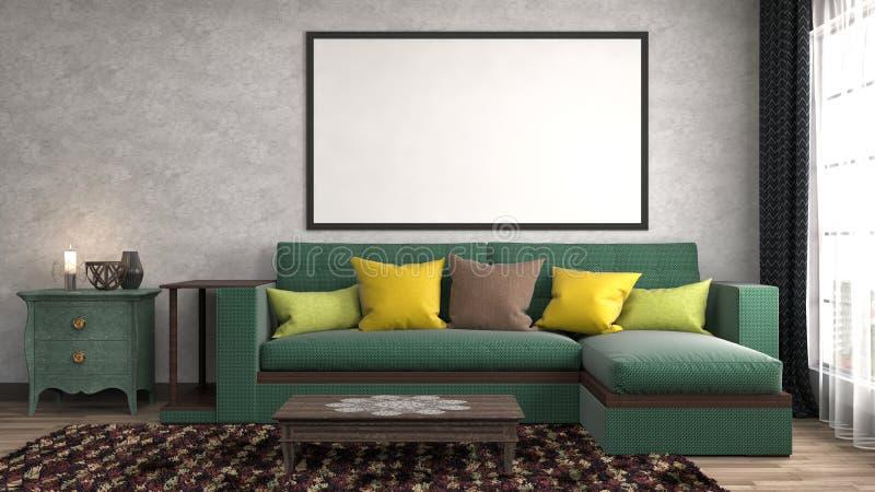 Насмешка вверх по рамке плаката в внутренней предпосылке иллюстрация 3d бесплатная иллюстрация