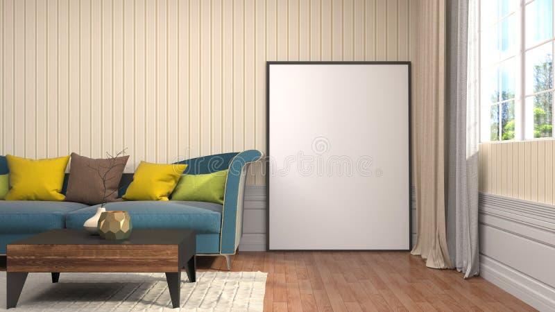 Насмешка вверх по рамке плаката в внутренней предпосылке иллюстрация 3d иллюстрация вектора