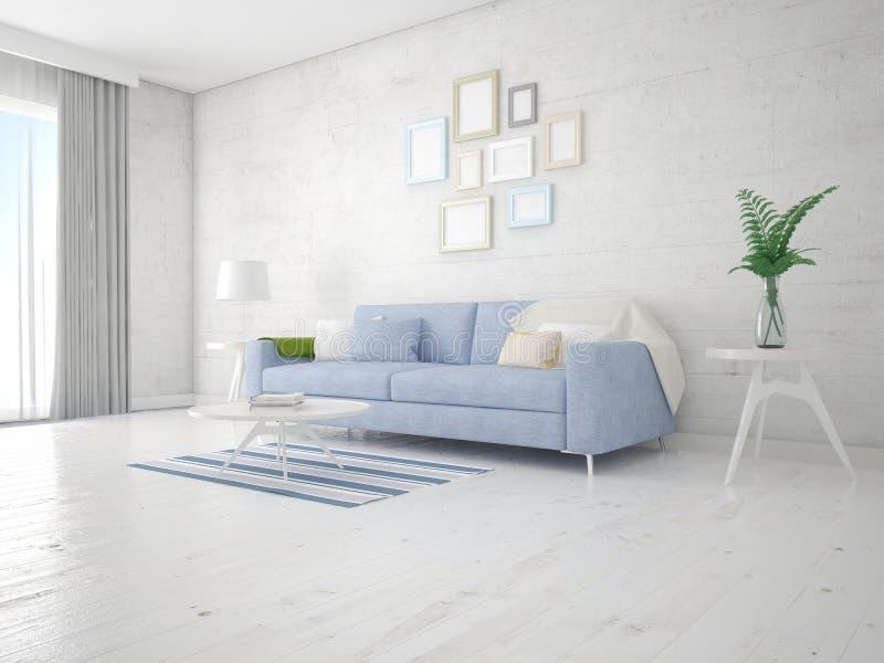 Насмешка вверх по современной живущей комнате с компактной удобной софой иллюстрация вектора