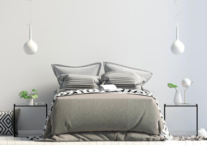 Насмешка вверх по стене в интерьере спальни Стиль спальни скандинавский 3d иллюстрация штока