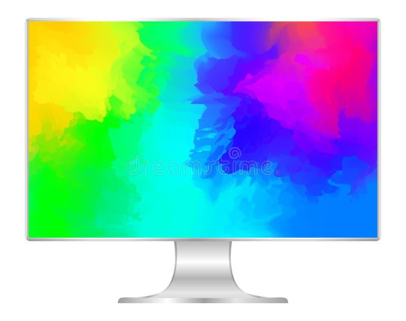 Насмешка вверх по цветам компьютера и обоев красочным, плоскому монитору с полноэкранным multi цветов яркое, экрану дисплея ПК ци иллюстрация вектора