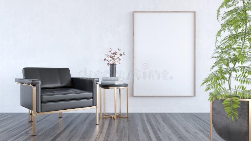 Насмешка вверх по черному кожаному креслу в современной живущей комнате, дизайне интерьера 3D представляет бесплатная иллюстрация