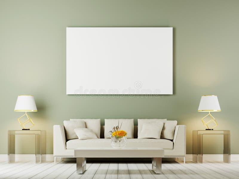 Насмешка внутренней стены живущей комнаты вверх при включении белые софа, подушки и лампы предпосылка oliwe бесплатная иллюстрация