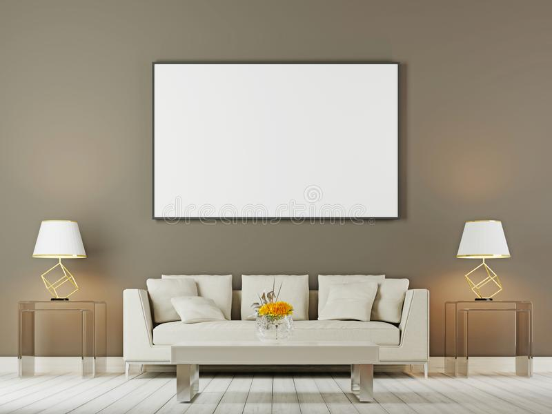 Насмешка внутренней стены живущей комнаты вверх при включении белые софа, подушки и лампы коричневая предпосылка бесплатная иллюстрация
