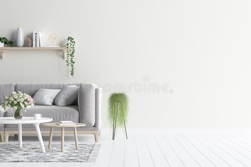 Насмешка внутренней стены живущей комнаты вверх с серыми софой и заводами бархата иллюстрация штока