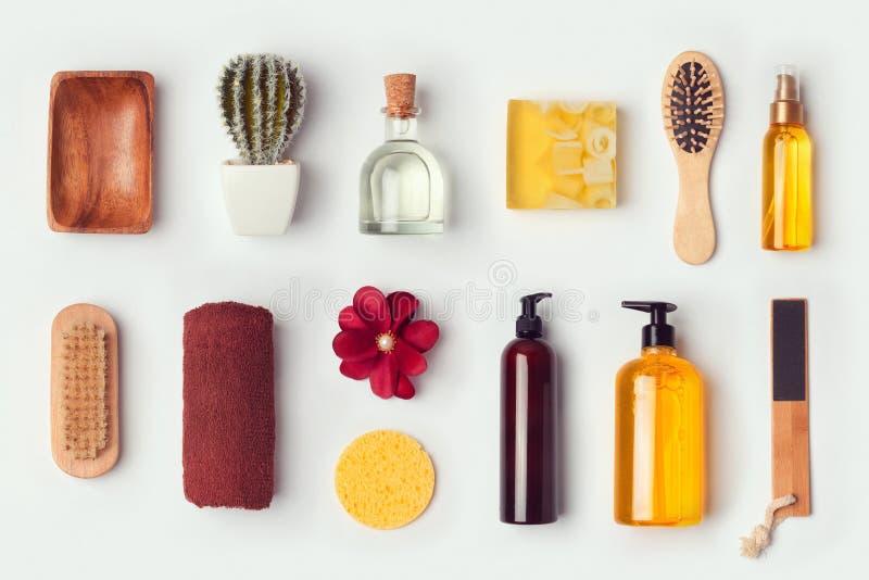 Насмешка заботы ванной комнаты и тела вверх по шаблону для клеймя идентичности конструирует над взглядом стоковая фотография
