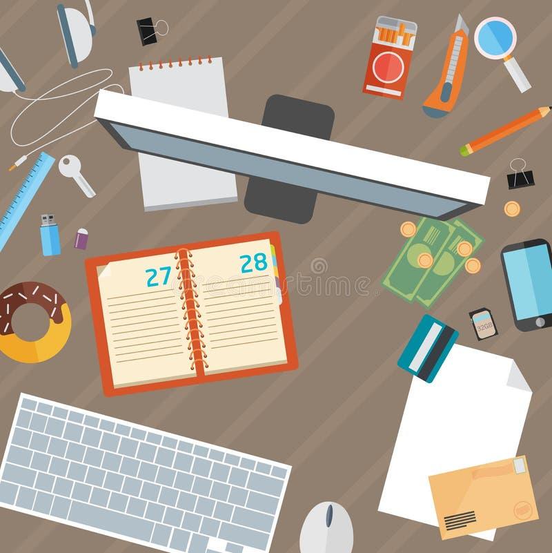 Насмешка квартиры стола офиса вверх по шаблону с плоскими стильными значками бесплатная иллюстрация