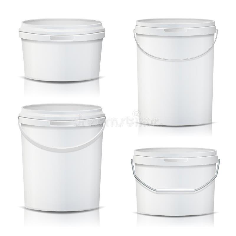 Насмешка контейнера белого ведра установленная вверх по вектору Продукт упаковывая для прилипателей, Sealants, праймеров, замазки иллюстрация штока