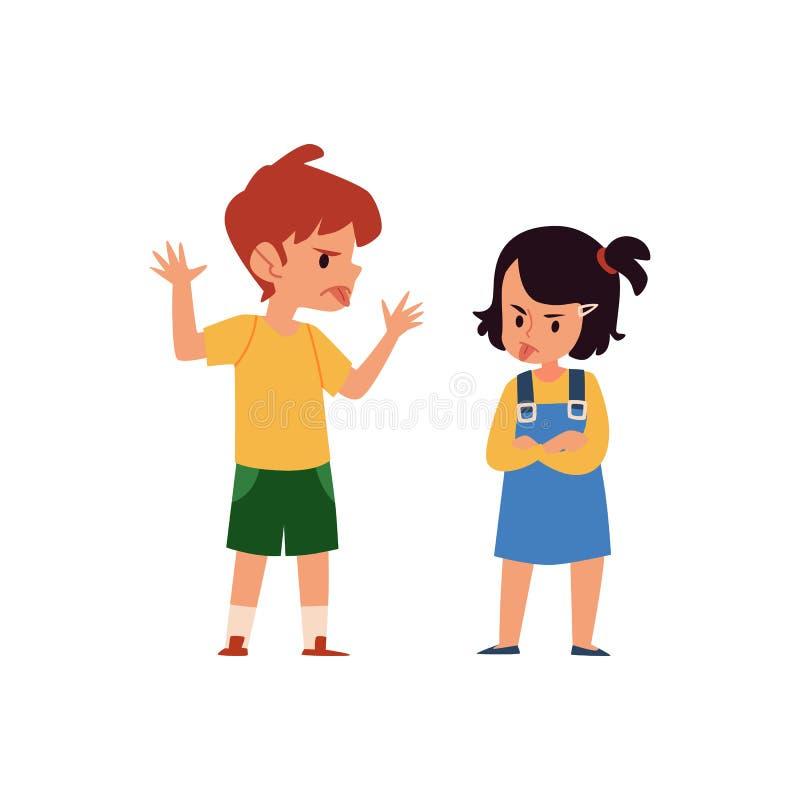 Насмешка мальчика и девушки мультфильма и насмешливый один другого, сердитые дети вставляя язык и показывая поведение беды иллюстрация штока