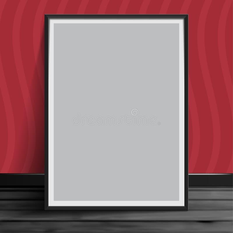 Насмешка модель-макета иллюстрации вектора запаса вверх по реалистическим photoframes шаблона изображения Серый цвет чистого лист иллюстрация вектора