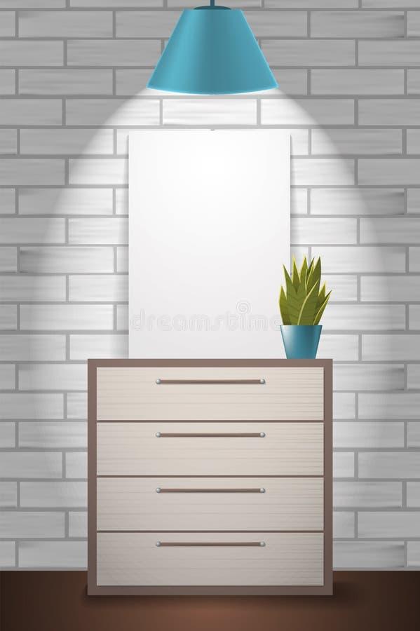 Насмешка плаката поднимающая вверх и зеленое растение стоя на commode бесплатная иллюстрация