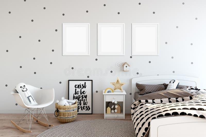Насмешка рамки вверх в интерьере комнаты ребенка Внутренний скандинавский стиль 3D перевод, иллюстрация 3D иллюстрация штока
