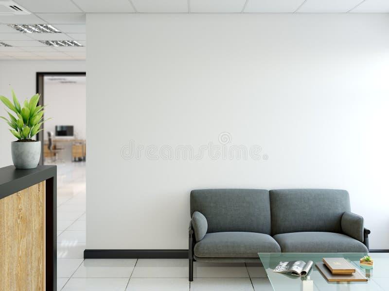 Насмешка стены офиса вверх по интерьеру Искусство стены 3D перевод, иллюстрация 3D бесплатная иллюстрация