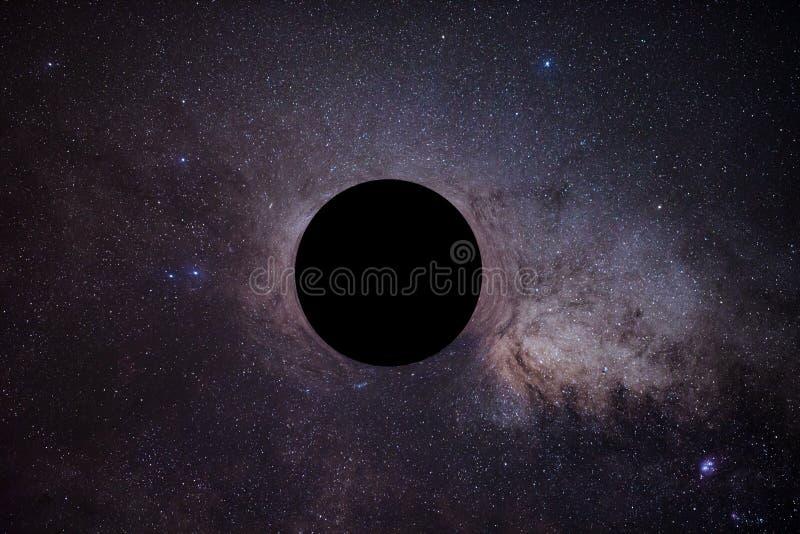 Насмешка черной дыры перед млечным путем стоковое изображение