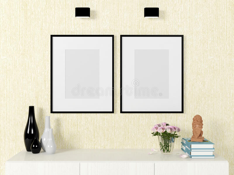 Насмешка шаблона плаката вверх на стене с декоративными элементами стоковые фото