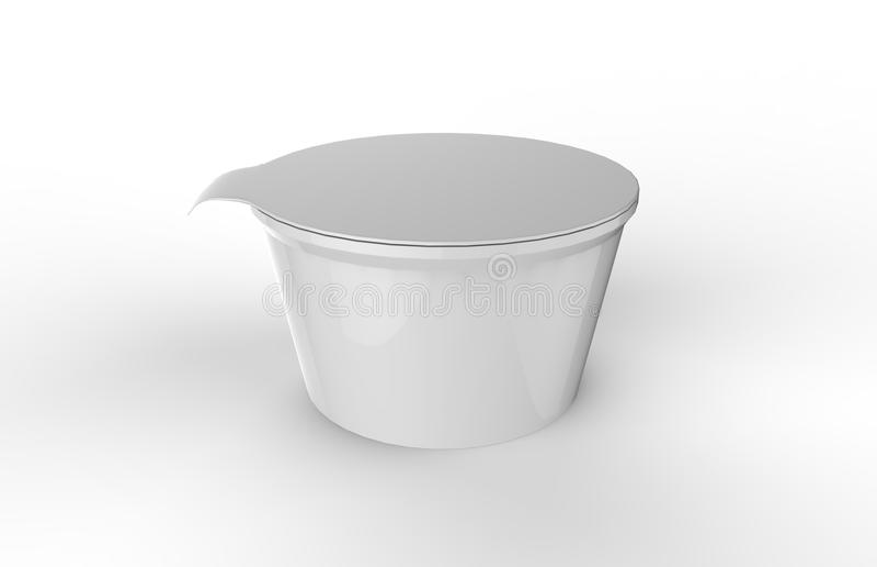 Насмешка югурта упаковывая вверх по шаблону на изолированной белой предпосылке, подготавливает для вашего дизайна, иллюстрации 3d бесплатная иллюстрация