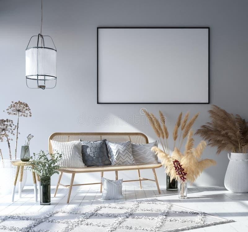 Насмешливая поднимающая вверх рамка плаката в домашней внутренней предпосылке, комнате богемского стиля живя иллюстрация вектора
