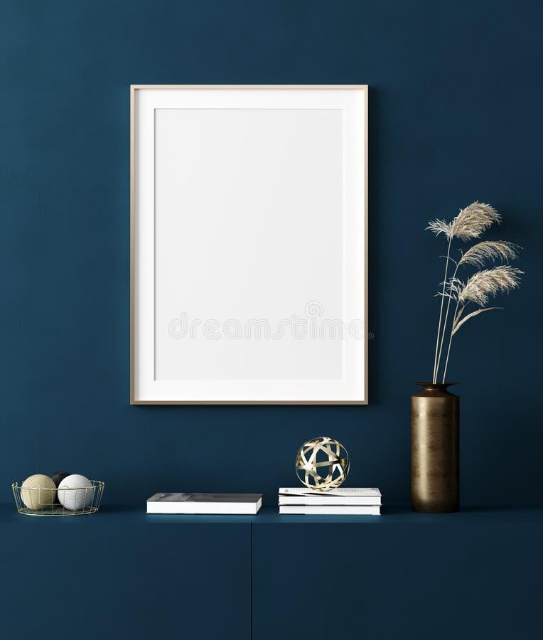 Насмешливая поднимающая вверх рамка плаката в домашней внутренней предпосылке, современном стиле бесплатная иллюстрация