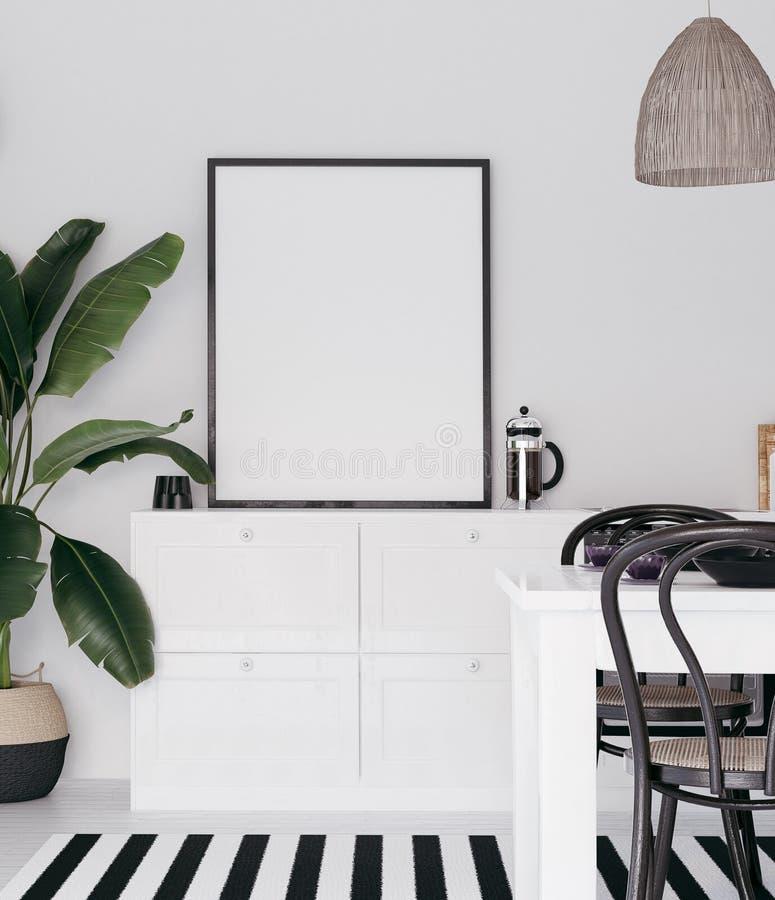 Насмешливая поднимающая вверх рамка плаката в интерьере кухни иллюстрация вектора