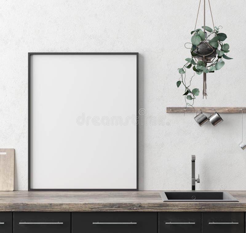 Насмешливая поднимающая вверх рамка плаката в предпосылке кухни внутренней, этническом стиле стоковые фотографии rf