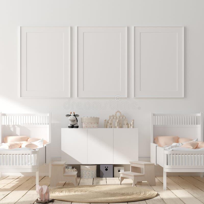 Насмешливая поднимающая вверх рамка плаката в предпосылке спальни детей внутренней, скандинавском стиле иллюстрация вектора