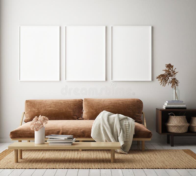 Насмешливая поднимающая вверх рамка плаката в современной внутренней предпосылке, комнате прожития, скандинавском стиле, 3D предс иллюстрация вектора