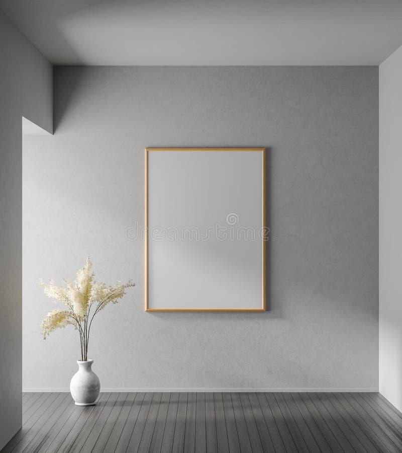 Насмешливая поднимающая вверх рамка плаката в современном интерьере с бетонными стенами Минималистский дизайн комнаты : иллюстрация вектора