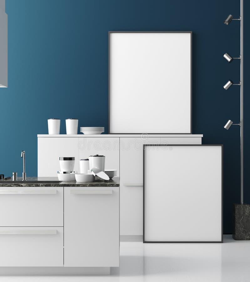 Насмешливая поднимающая вверх рамка плаката в современном интерьере кухни, современном стиле иллюстрация вектора