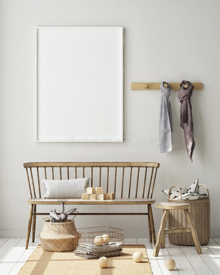 Насмешливая поднимающая вверх рамка плаката в спальне детей, предпосылке скандинавского стиля внутренней, 3D представляет, иллюст иллюстрация штока