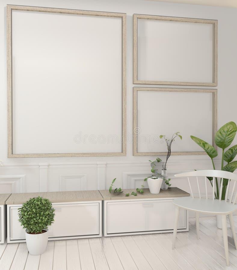 Насмешливые поднимающие вверх заводы рамки и шкафа и украшения плаката на дизайне белой комнаты минимальном r бесплатная иллюстрация