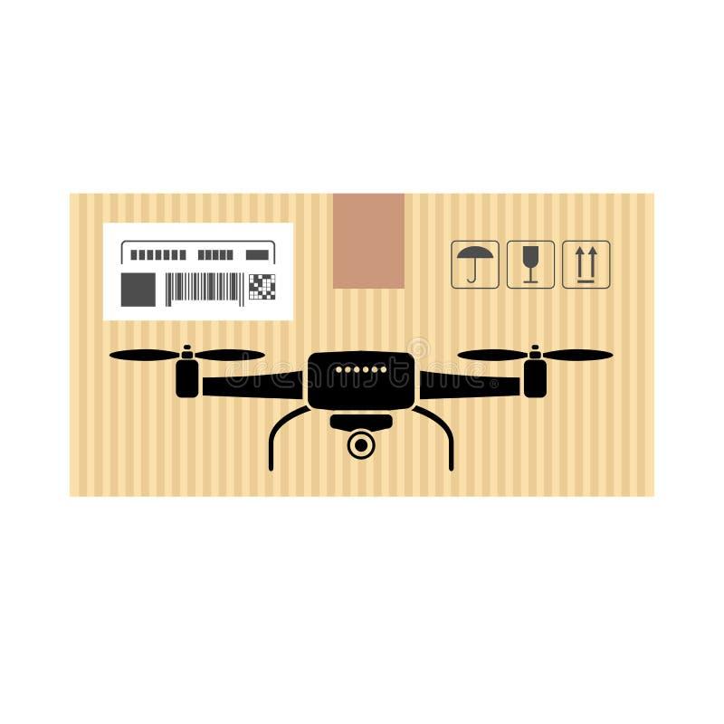 Насмешливый вверх трутня или quadrocopter в коробке коробки Обслуживания двигать и доставки также вектор иллюстрации притяжки cor иллюстрация вектора