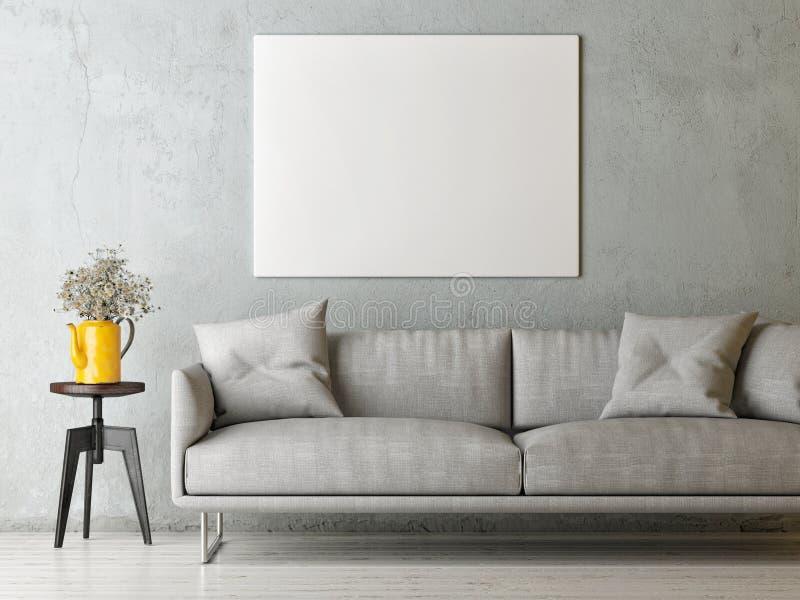 Насмешливый поднимающий вверх плакат в комнате прожития концепции минимализма, скандинавском дизайне иллюстрация штока