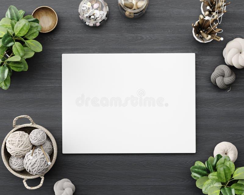 Насмешливый поднимающий вверх плакат в студии atelier, холст на крупном плане таблицы с различными шить деталями и ткани стоковая фотография