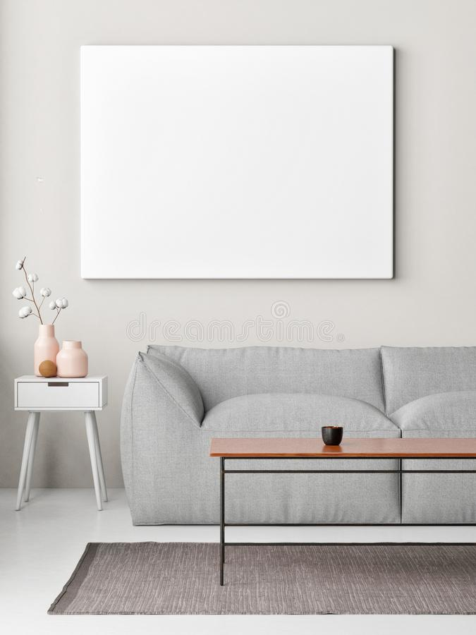 Насмешливый поднимающий вверх плакат на стене, предпосылке хипстера комнаты прожития, иллюстрация вектора
