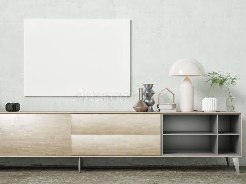Насмешливый поднимающий вверх плакат, современный sideboard с украшением иллюстрация штока